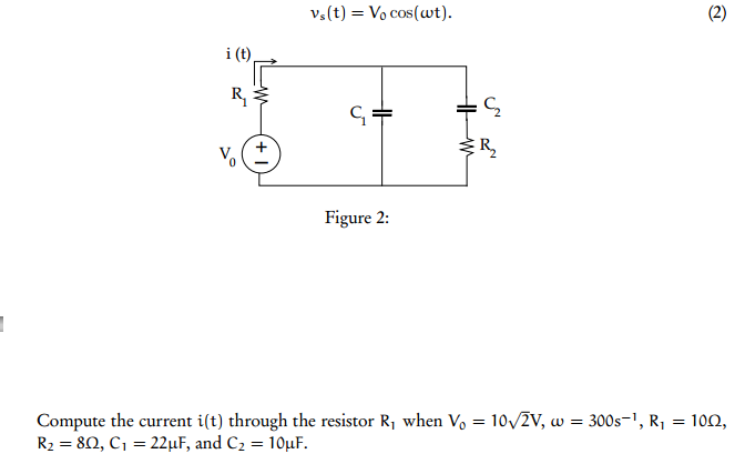 Compute the current i(t) through the resistor R1 w
