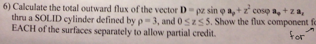 Calculate the total outward flux of the vector D =