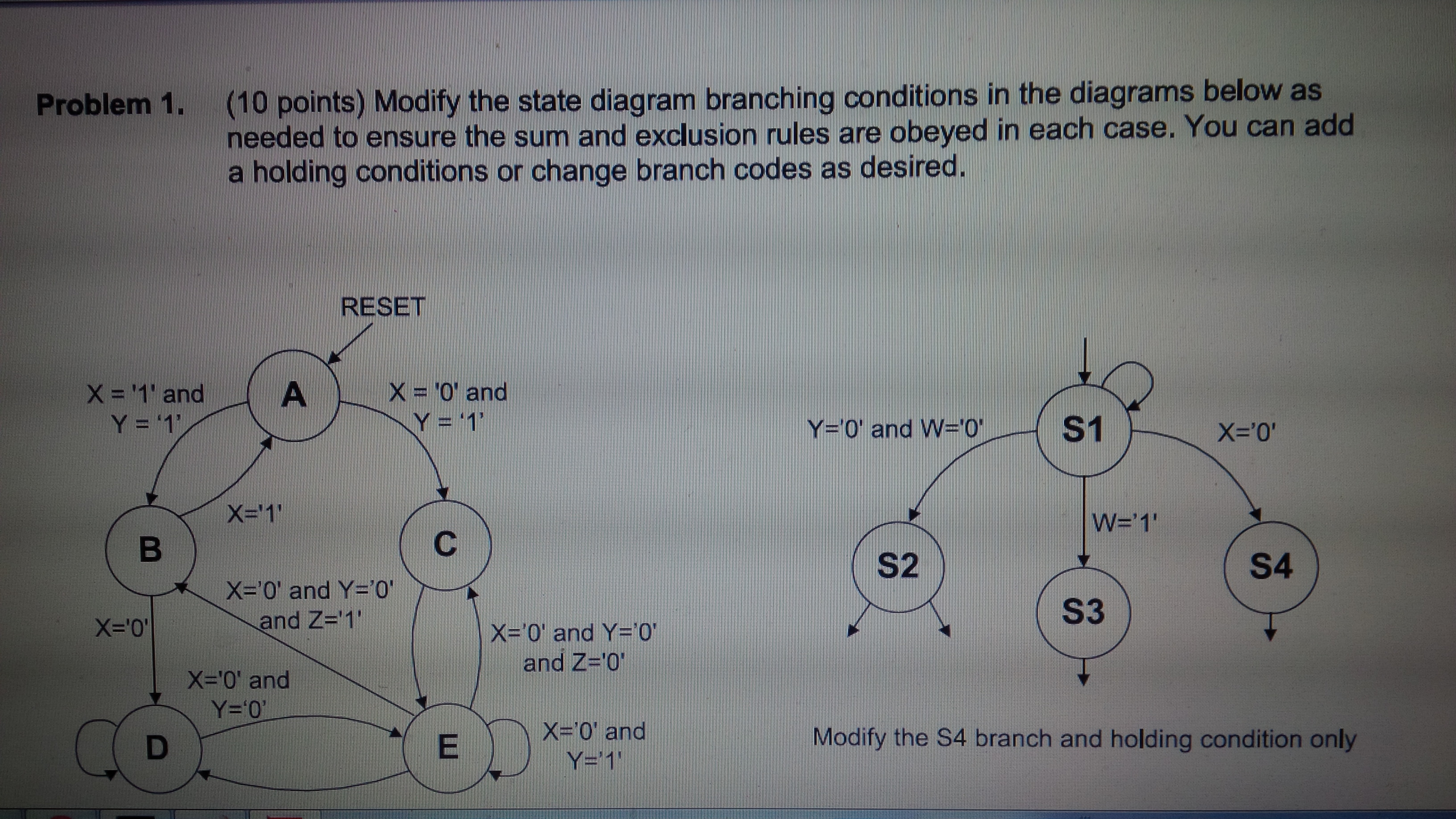 Modify the state diagram branching conditions in t