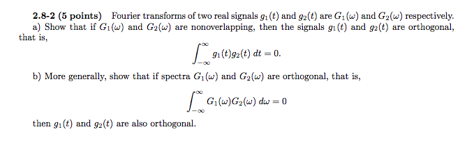 Fourier transforms of two real signals g1(t) and g