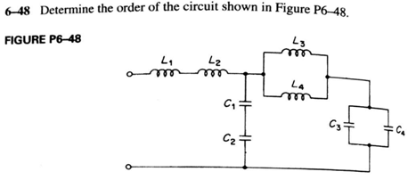 Determine the order of the circuit shown in Figure