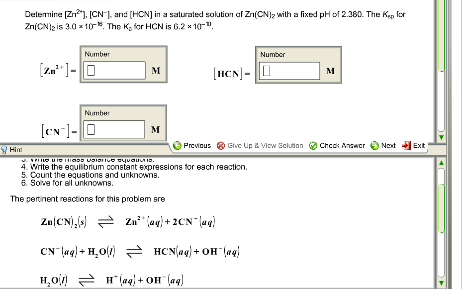 Determine [Zn2+], [CN-], and [HCN] in a saturated