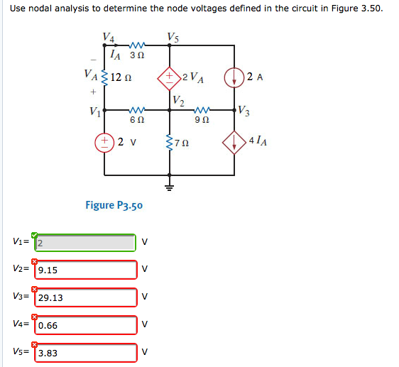 Use nodal analysis to determine the node voltages