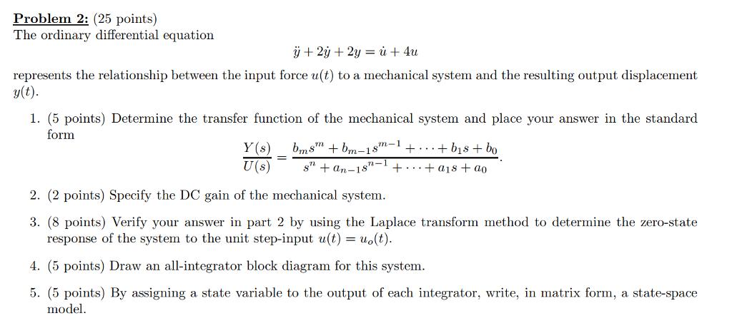Solved The Ordinary Differential Equation Y 2y 2y U