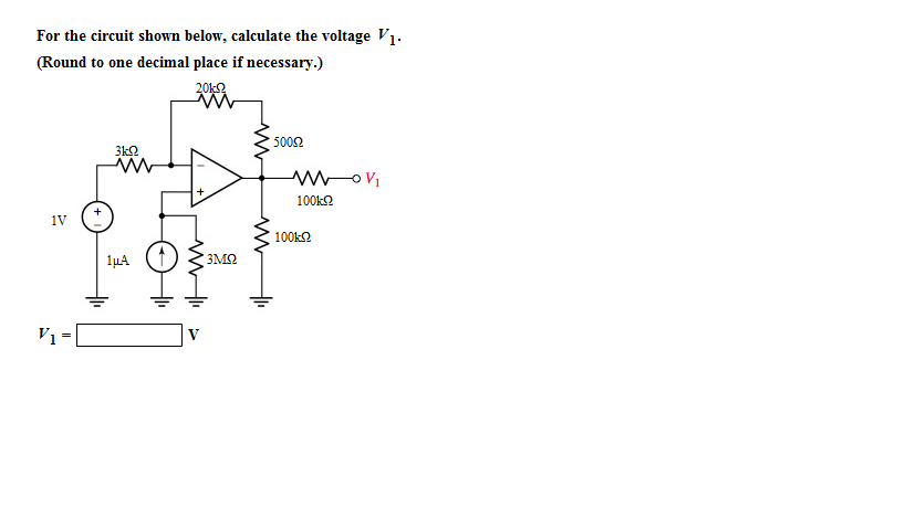 For the circuit shown below, calculate the voltage
