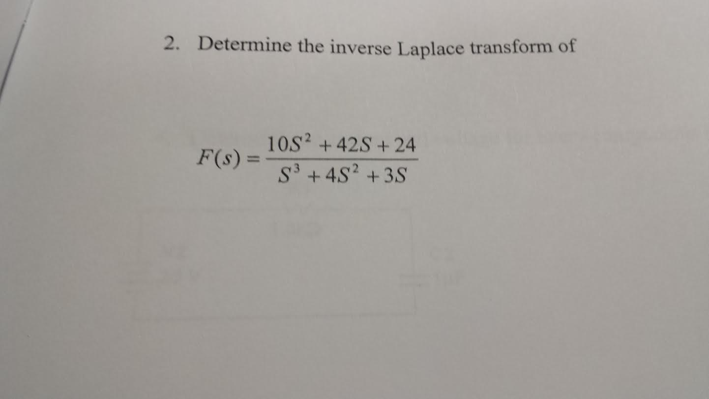 Determine the inverse Laplace transform of F(s)=1