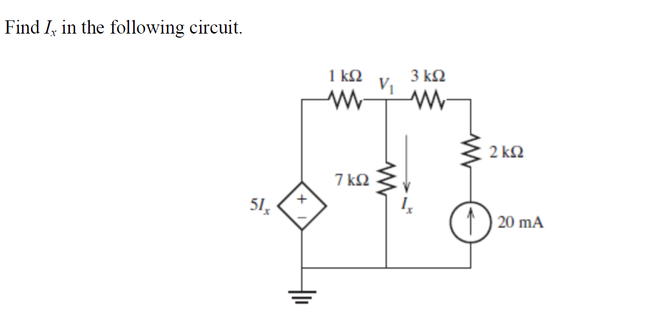 Find Ix in the following circuit.