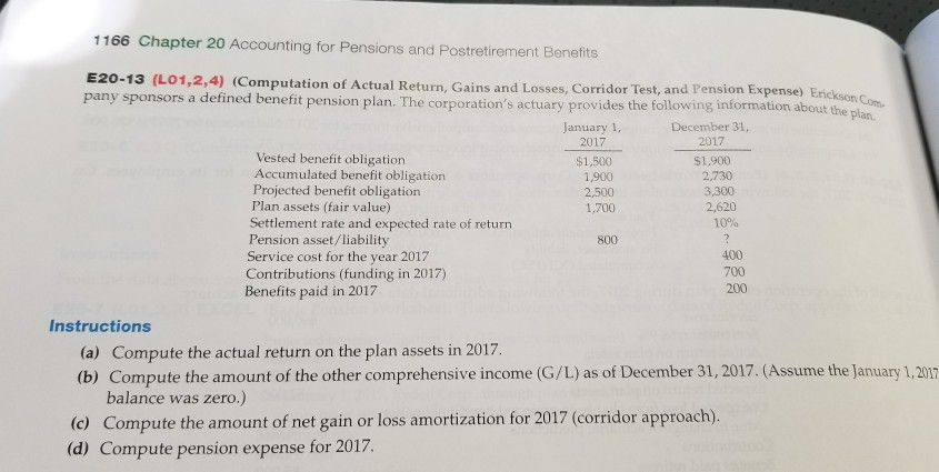 1166 Chapter 20 Accounting for Pensions and Postretirement Benefits E20-13  (LO1,2