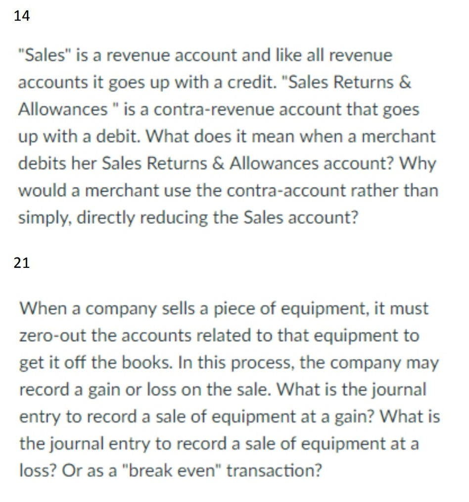 14 sales is a revenue account and like all reven chegg 14 sales is a revenue account and like all revenue accounts it goes up with a biocorpaavc