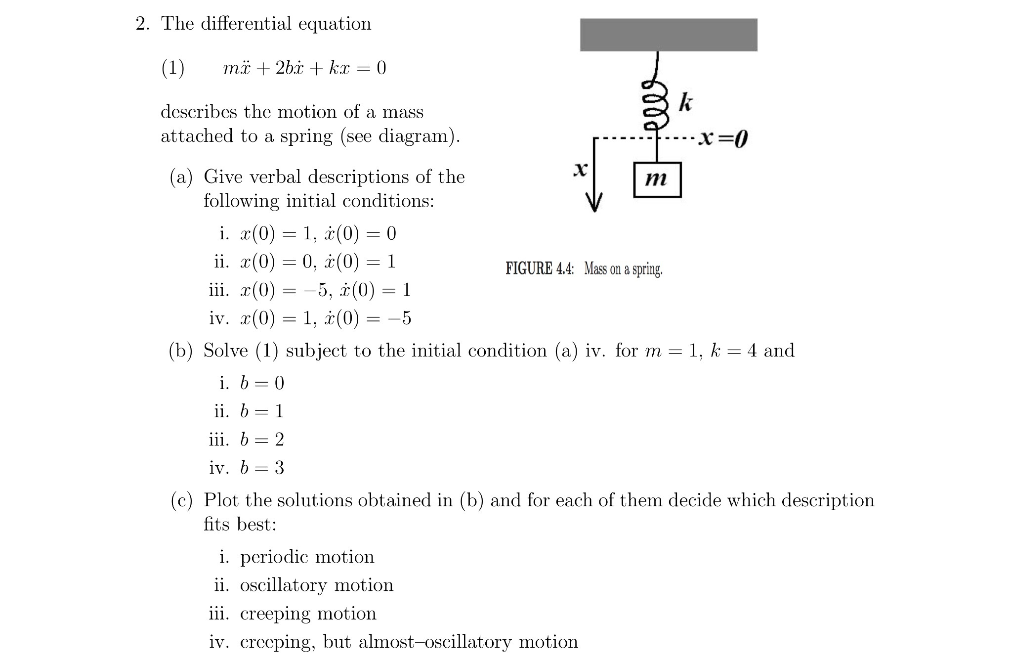 Solved  2  The Differential Equation Describes The Motion