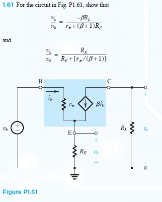 For the circuit in Fig. P1.61, show that Vc / Vb