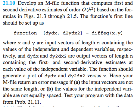 Develop an M-file function that computes first and