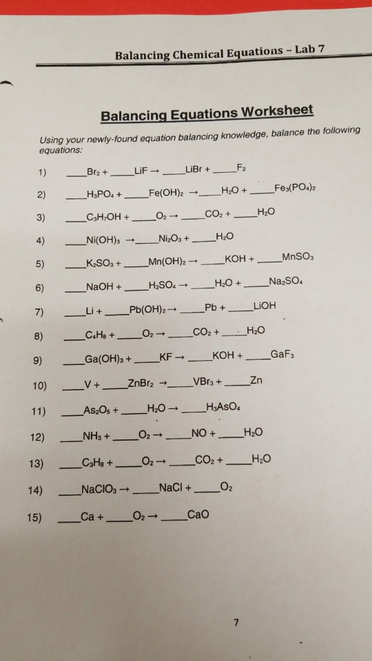 Solved Balancing Chemical Equations Lab 7 Balancing Equ