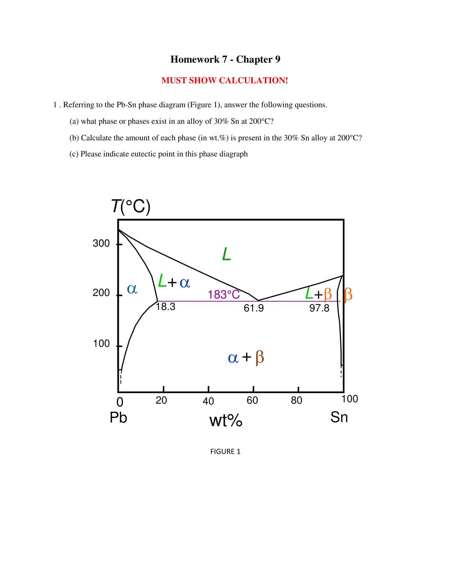 Solved referring to the pb sn phase diagram figure 1 a question referring to the pb sn phase diagram figure 1 answer the following questions what phase or ph pooptronica Images
