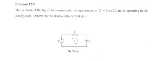 The network of the figure has a sinusoidal voltage