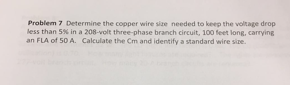 Solved determine the copper wire size needed to keep the problem 7 determine the copper wire size needed to keep the voltage drop less than 5 greentooth Gallery