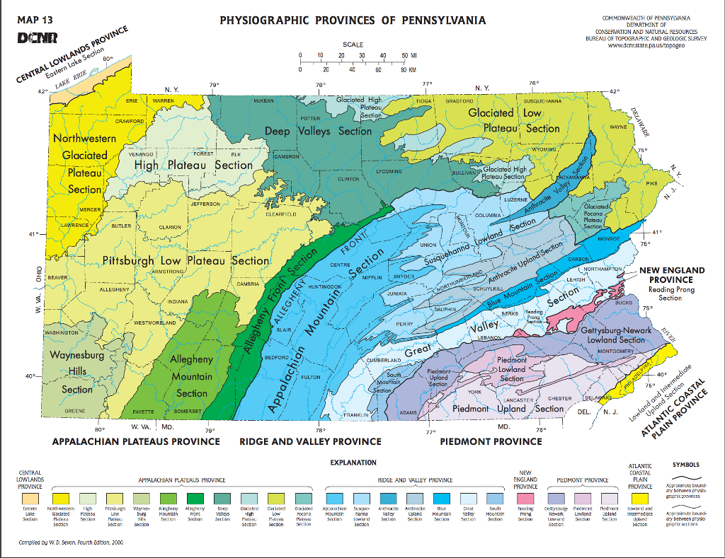 Solved use the dcnr map 13 physiographic provinces of map 13 physiographic provinces of pennsylvania denr ro ccmmonwealth of pennsywana department o conservation and natural sciox Choice Image