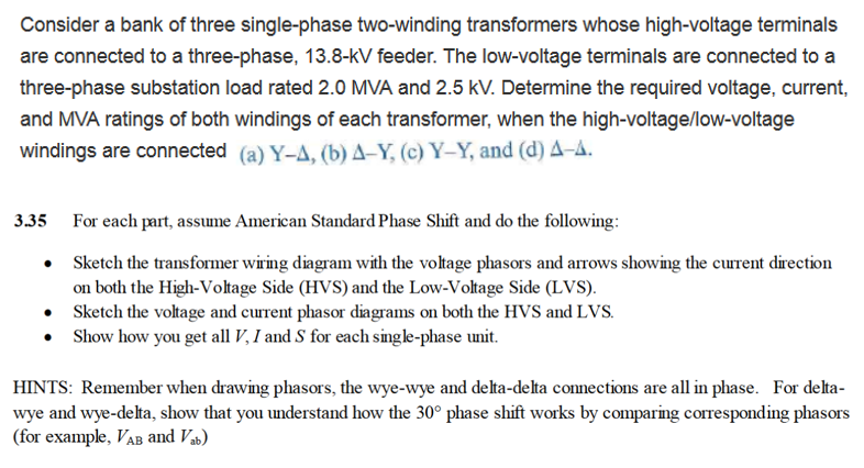 Solved: Consider A Bank Of Three Single-phase Two-winding ...