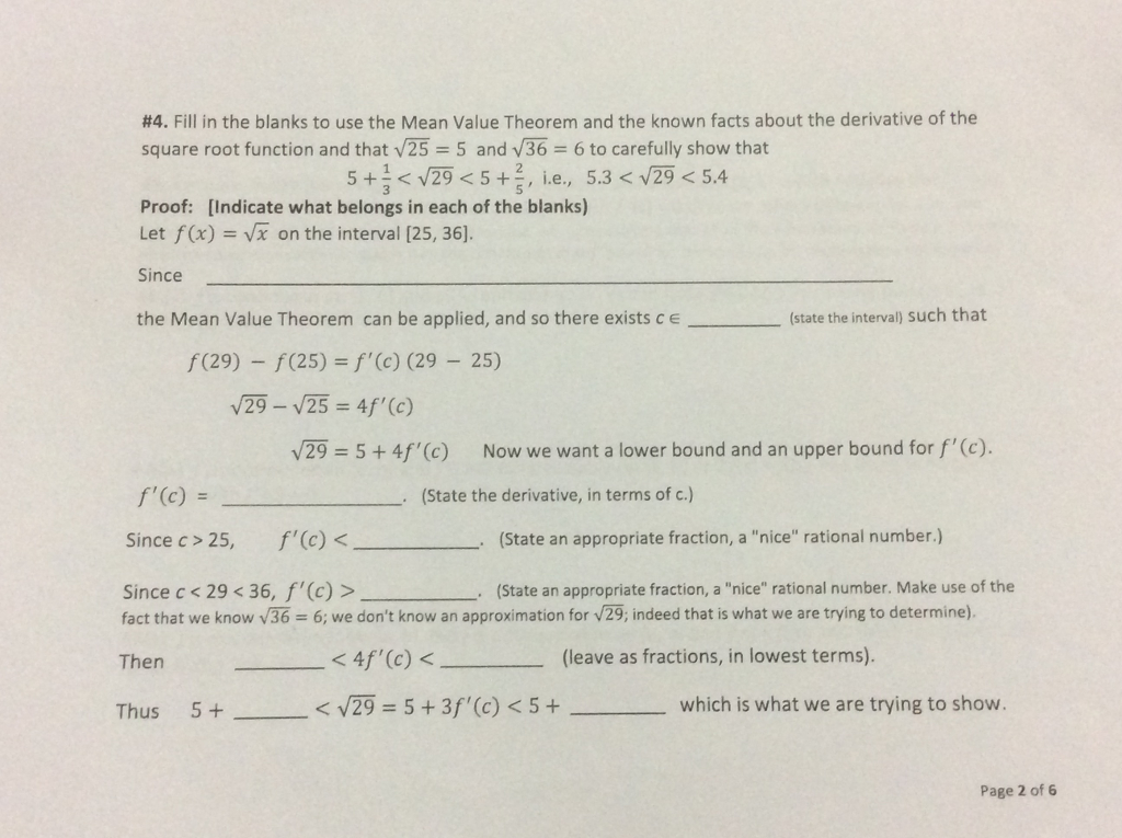 Question: Use the Mean Value Theorem and the known facts abo.
