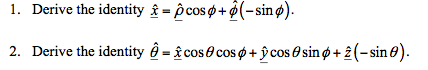 Derive the identity - cos + (-sin ). Derive