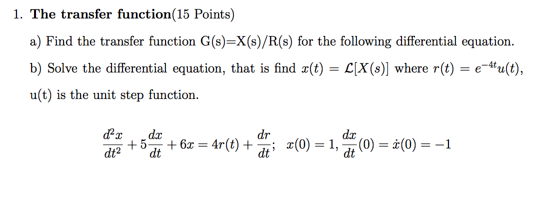 Find the transfer function G(s)=X(s)/R(s) for the