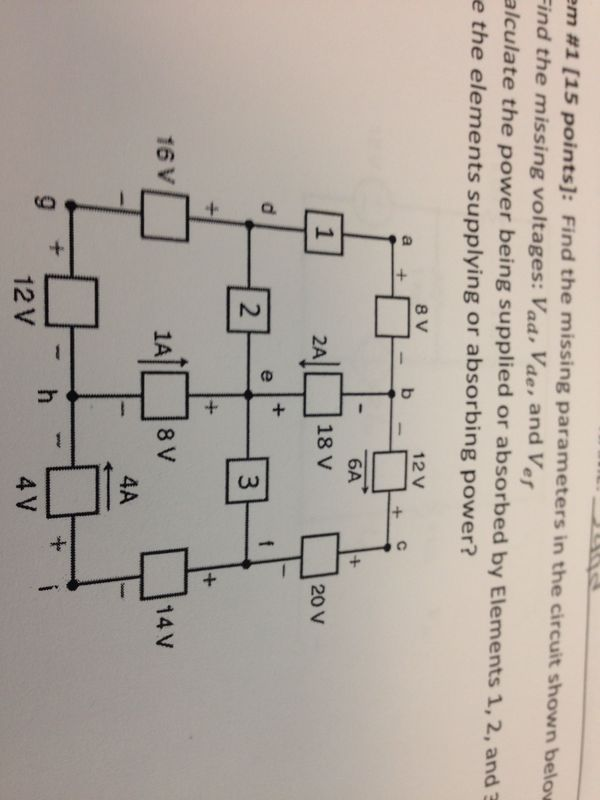 Find the missing paramteters in the circuit shown