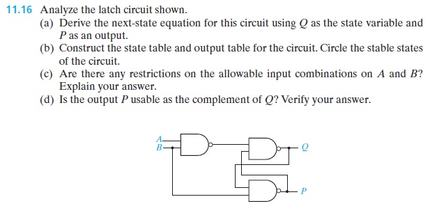 Analyze the latch circuit shown. Derive the next-