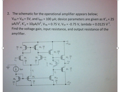 The schematic for the operational amplifier appear