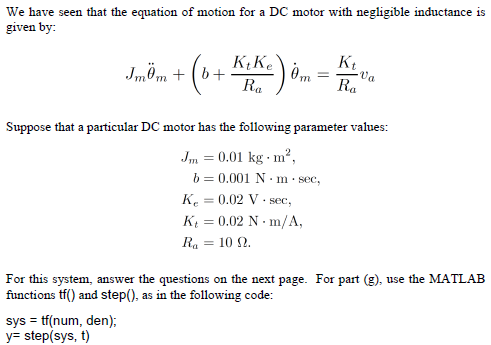 We have seen that the equation of motion for a DC