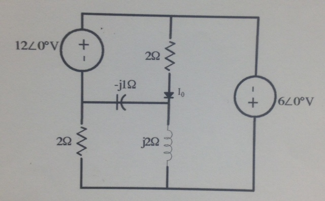 Find the phasor current Io in the circuit shown be