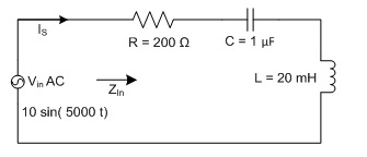 For the following series AC circuit, the total cir