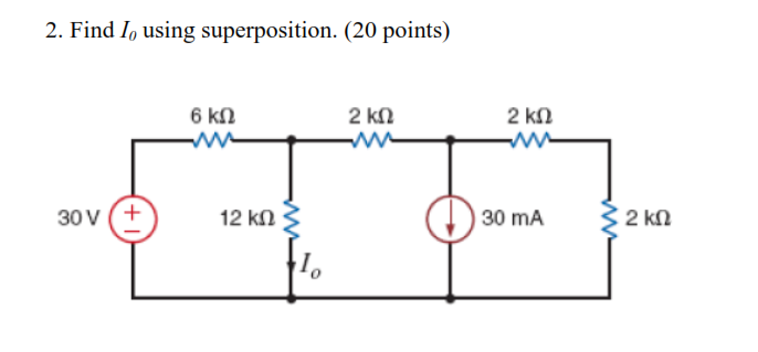 Find I0 using superposition.