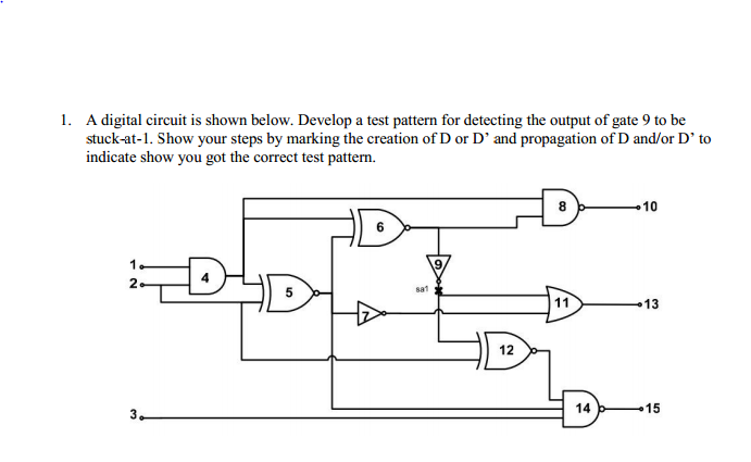 A digital circuit is shown below. Develop a test p