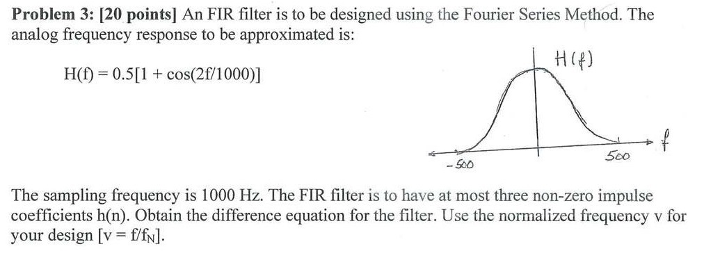 An FIR filter is to be designed using the Fourier