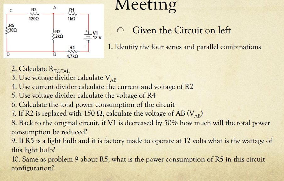 Given the Circuit on left Identify the four ser