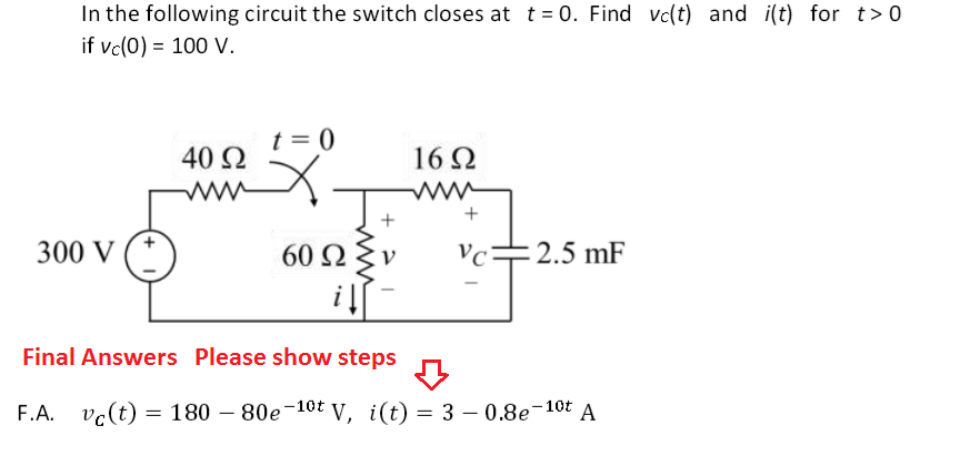 In the following circuit the switch closes at t =