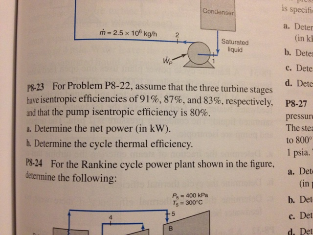 For Problem P8-22, assume that the three turbine s