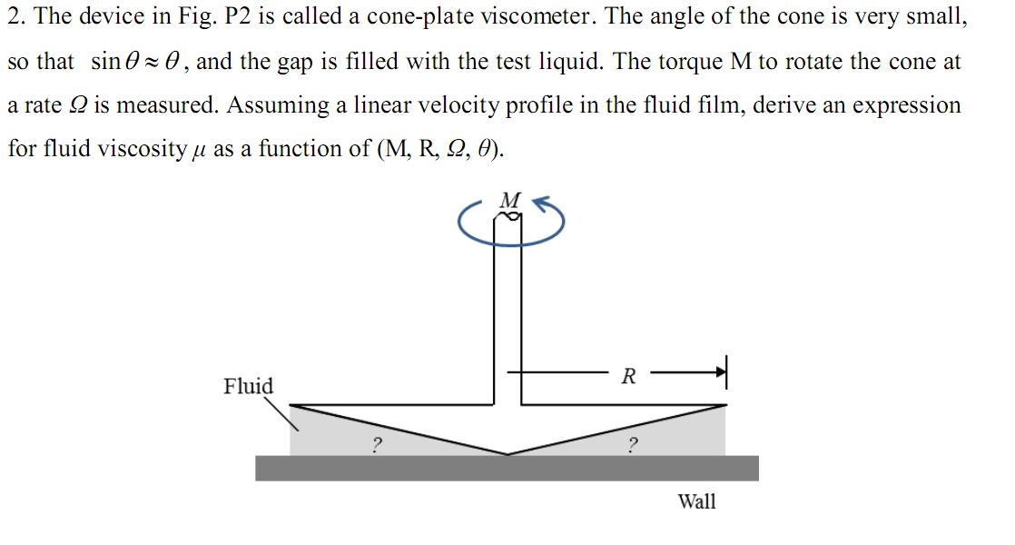 The Device In Fig. P2 Is Called A Cone-plate Visco... | Chegg.com