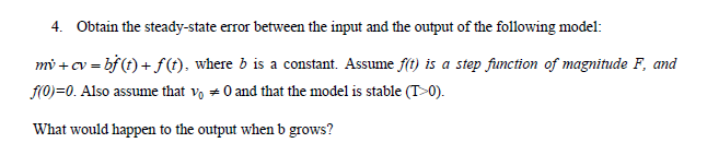 Obtain the steady-state error between the input an