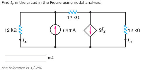 Find Io in the circuit in the Figure using nodal a
