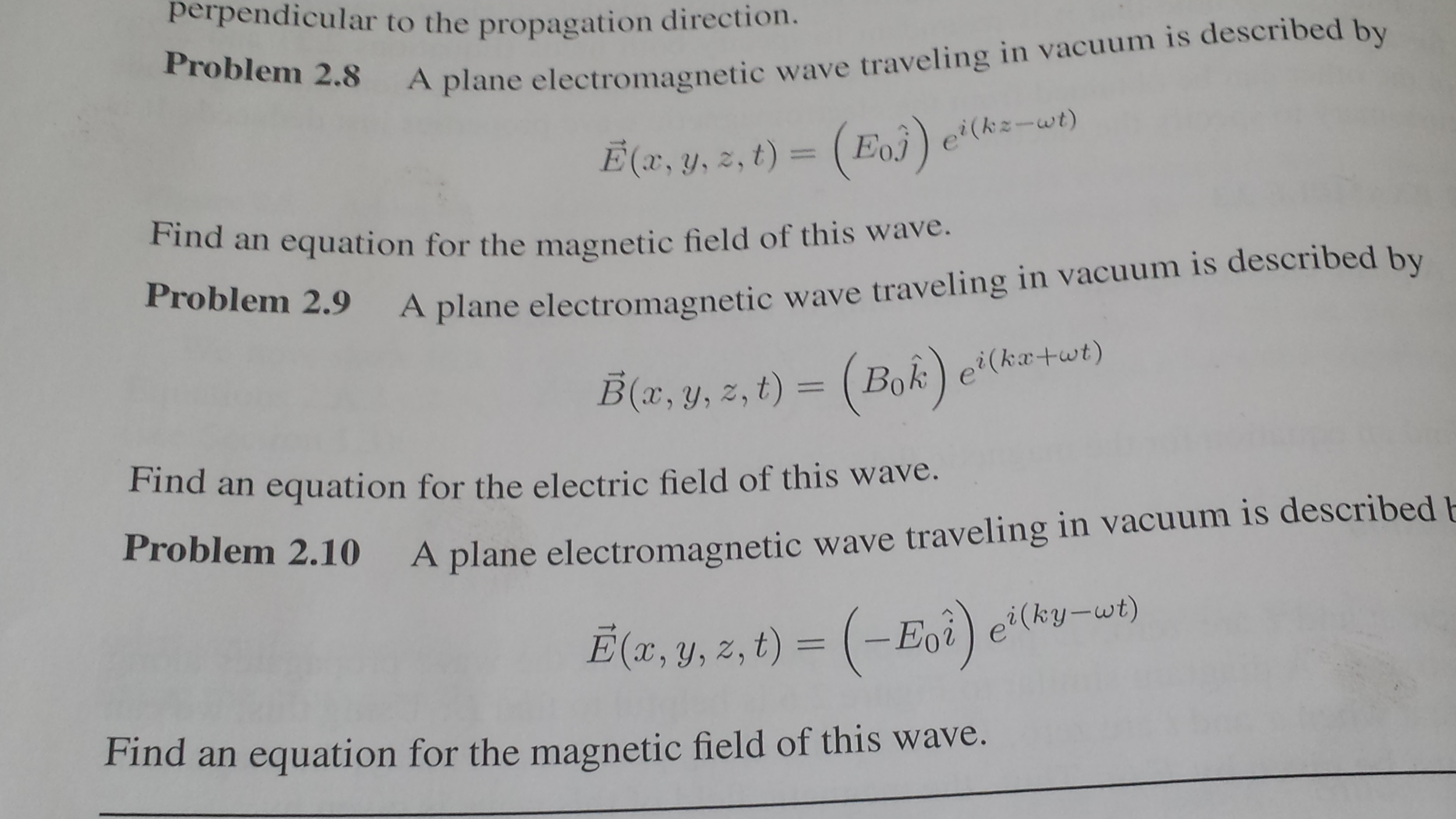 A plane electromaggnetic wave travelling in vacuum