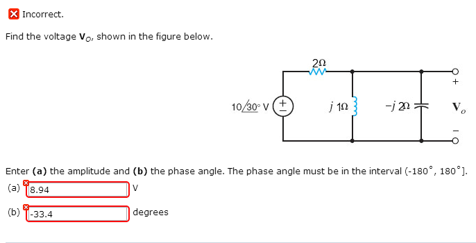 Find the voltage Vo, shown in the figure below. E
