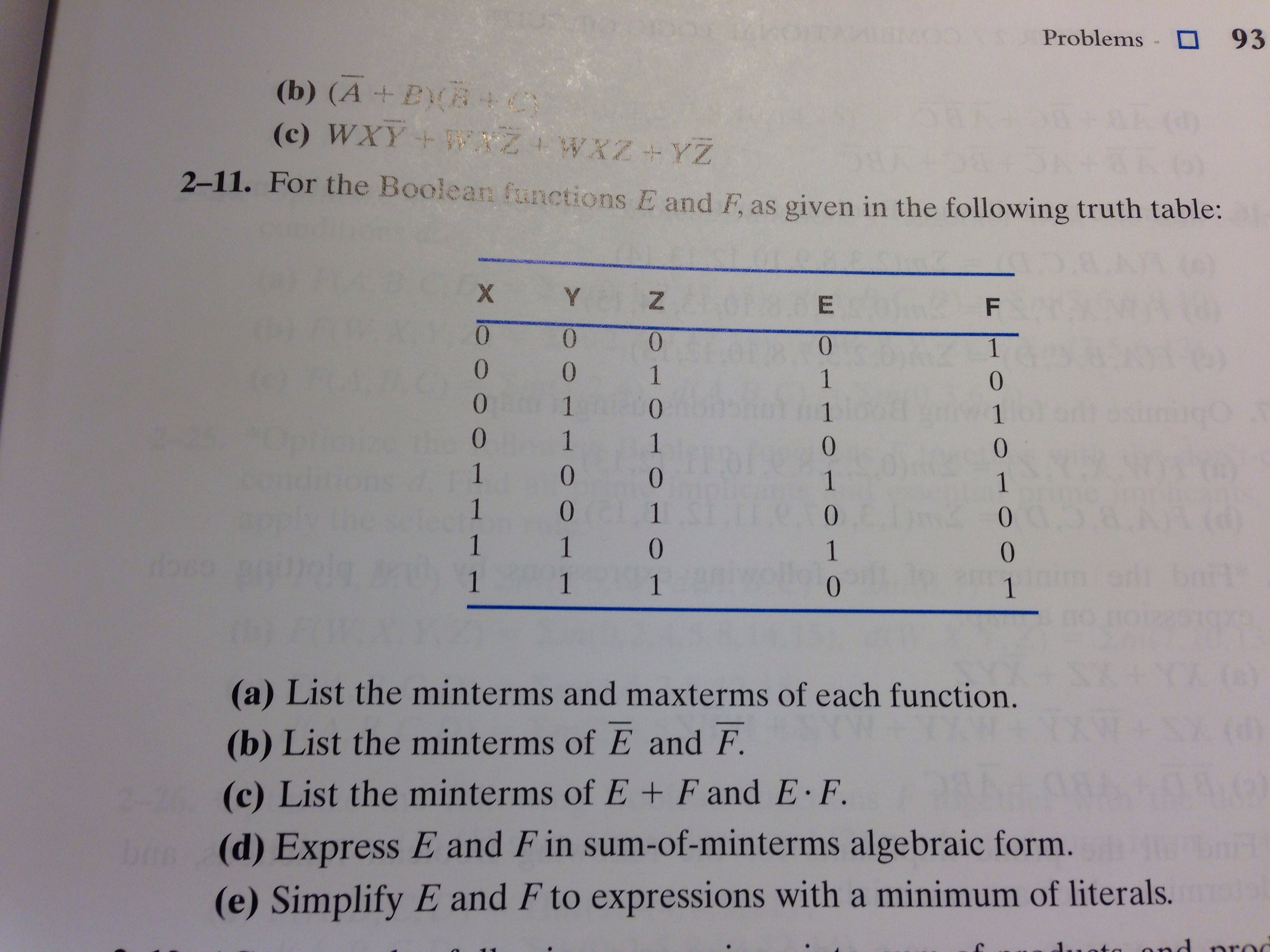 For the Boolean functions E and F, as given in th