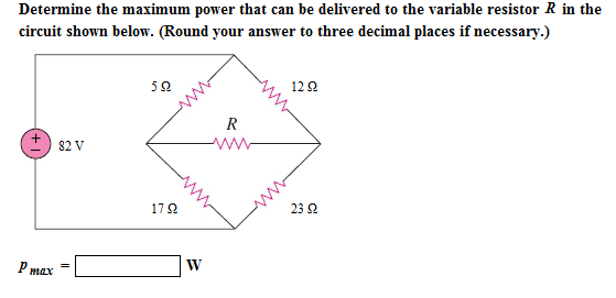 Determine the maximum power that can be delivered