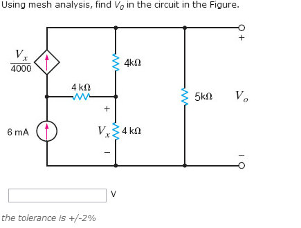 Using mesh analysis, find V0 in the circuit in the