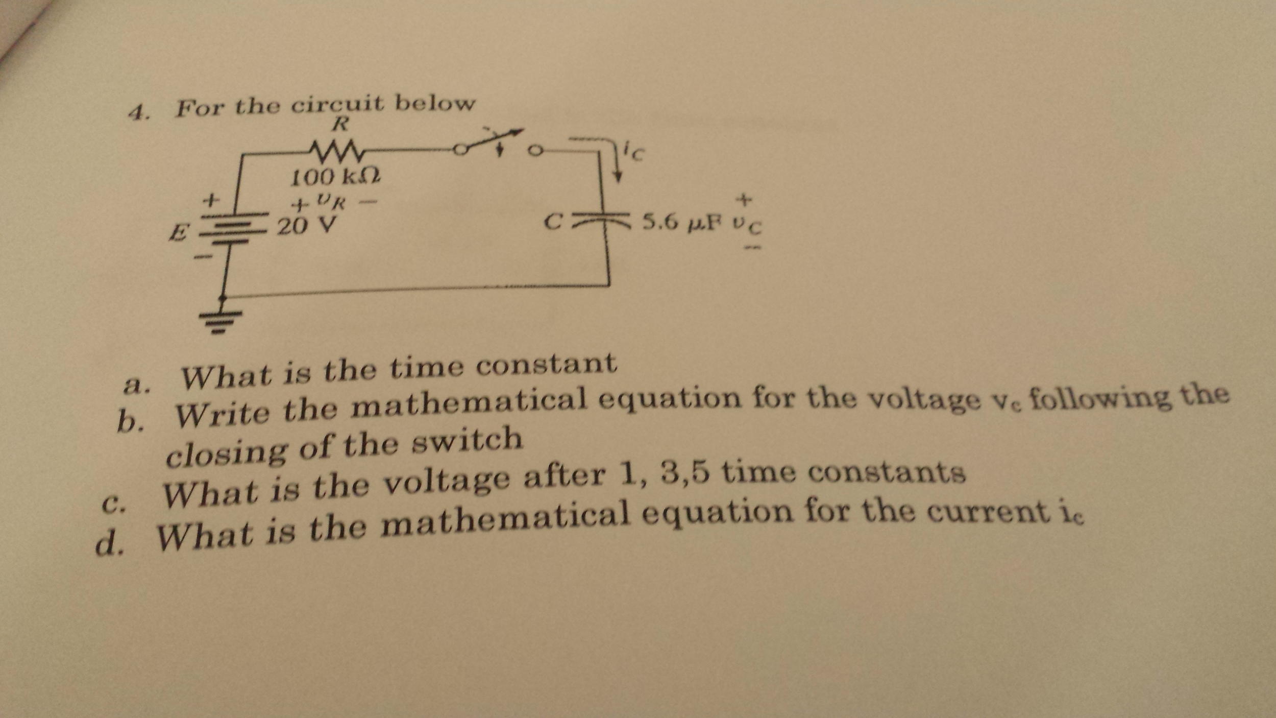 For the circuit, below What is the time constant