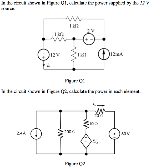 In the circuit shown in Figure Q1, calculate the p