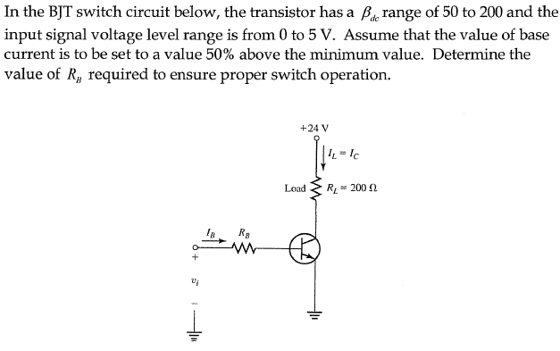 In the BJT switch circuit below, the transistor ha