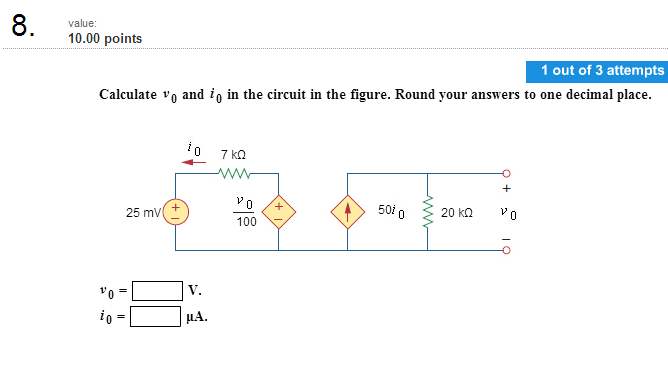 Calculate v0 and i0 in the circuit in the figure.