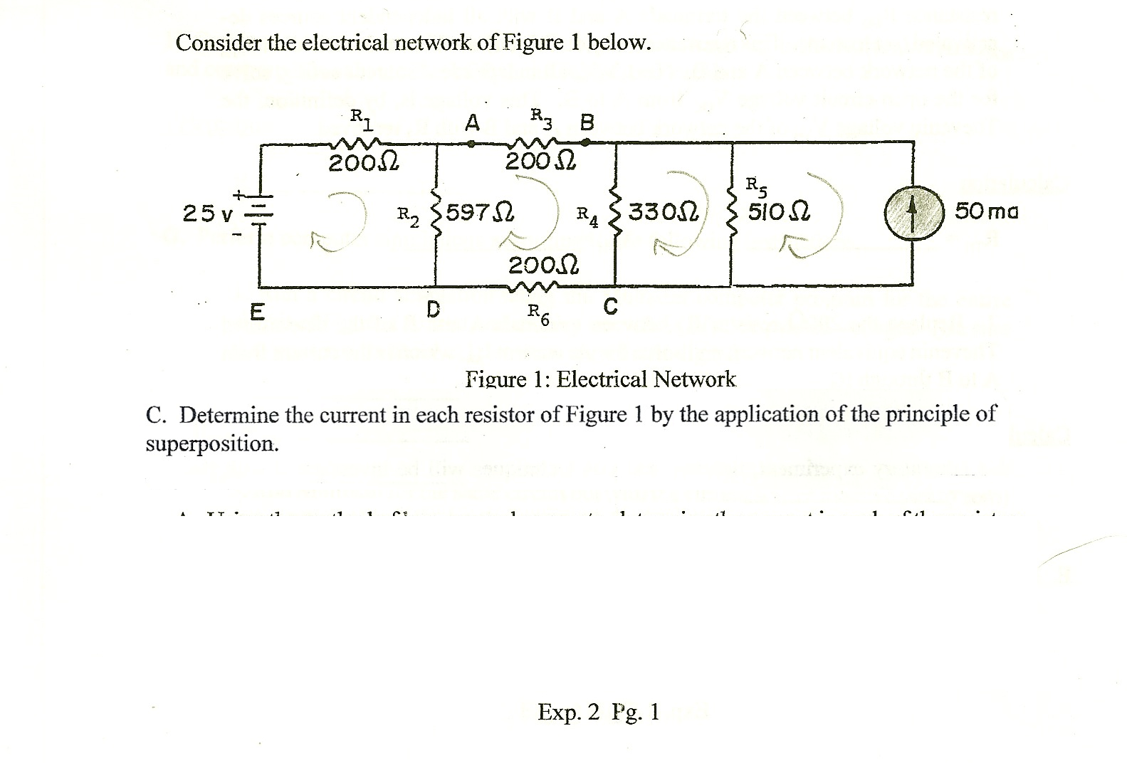 Consider the electrical network of Figure 1 below.